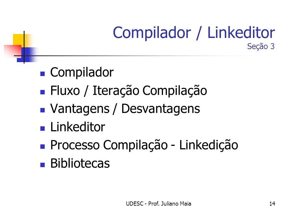 UDESC - Prof. Juliano Maia14 Compilador / Linkeditor Seção 3 Compilador Fluxo / Iteração Compilação Vantagens / Desvantagens Linkeditor Processo Compi