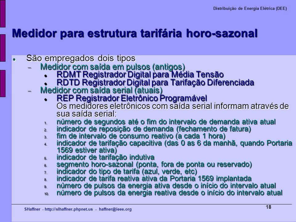 SHaffner - http://slhaffner.phpnet.us - haffner@ieee.org Distribuição de Energia Elétrica (DEE) 18 Medidor para estrutura tarifária horo-sazonal São e