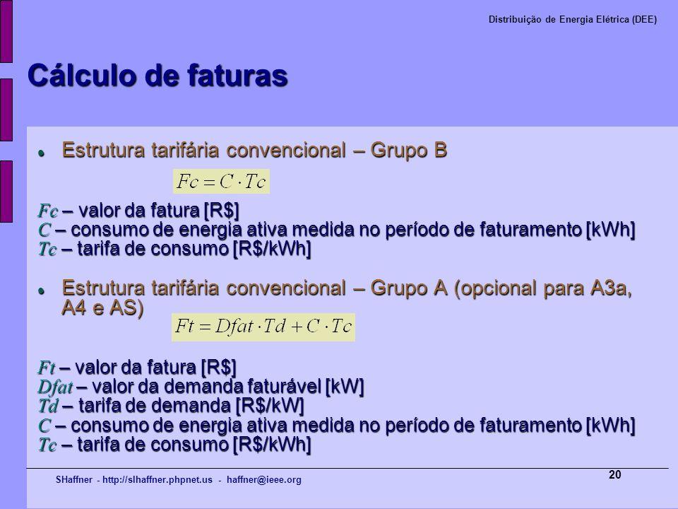 SHaffner - http://slhaffner.phpnet.us - haffner@ieee.org Distribuição de Energia Elétrica (DEE) 20 Cálculo de faturas Estrutura tarifária convencional