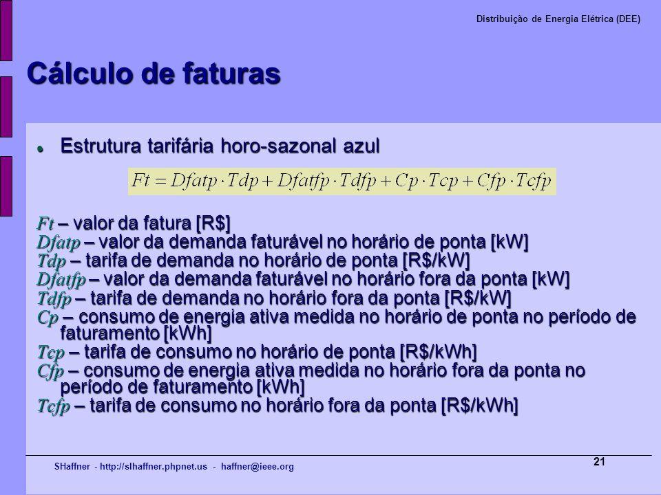 SHaffner - http://slhaffner.phpnet.us - haffner@ieee.org Distribuição de Energia Elétrica (DEE) 21 Cálculo de faturas Estrutura tarifária horo-sazonal