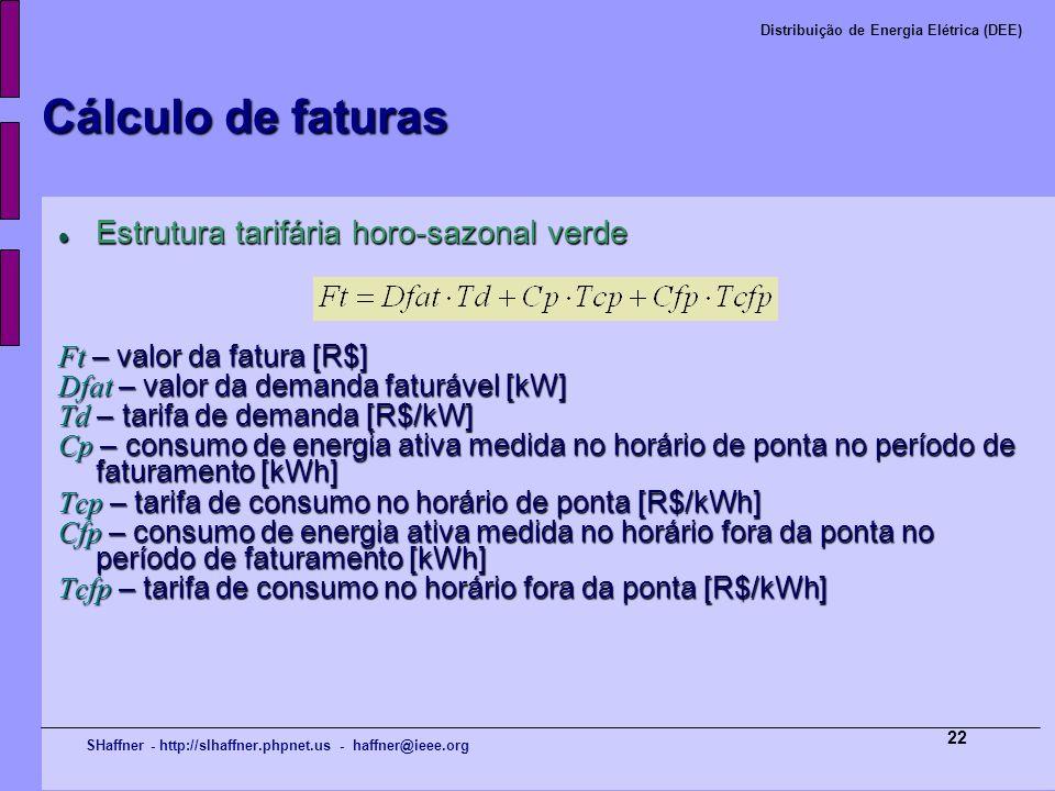 SHaffner - http://slhaffner.phpnet.us - haffner@ieee.org Distribuição de Energia Elétrica (DEE) 22 Cálculo de faturas Estrutura tarifária horo-sazonal