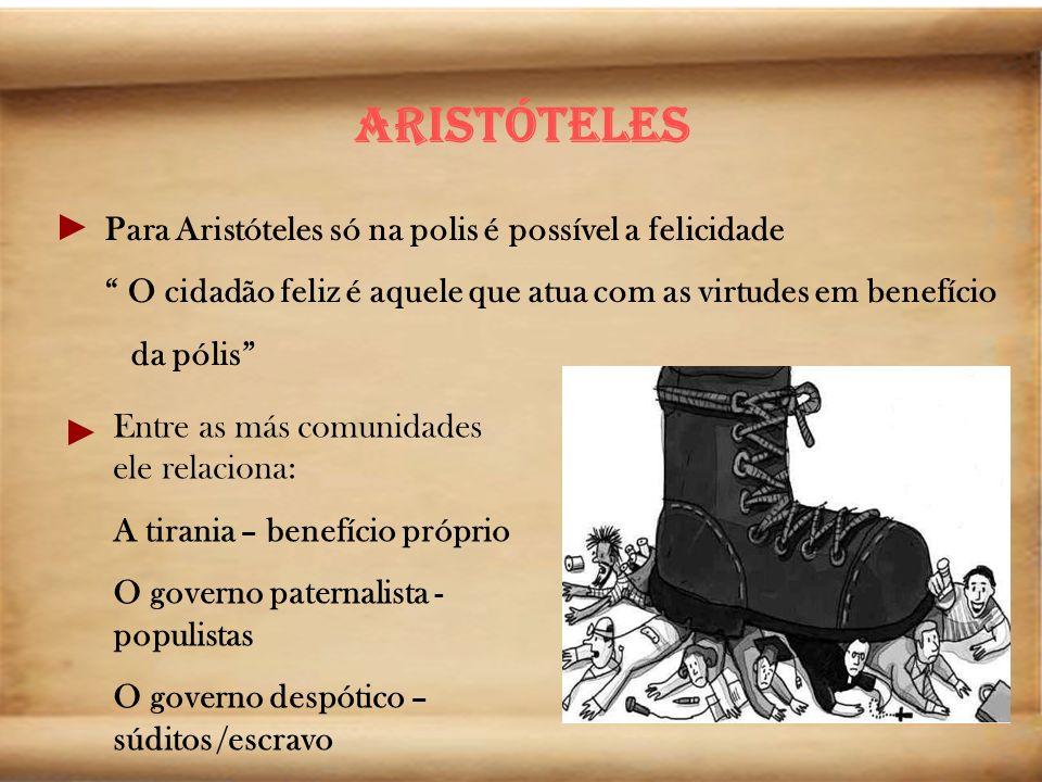 Aristóteles Para Aristóteles só na polis é possível a felicidade O cidadão feliz é aquele que atua com as virtudes em benefício da pólis Entre as más