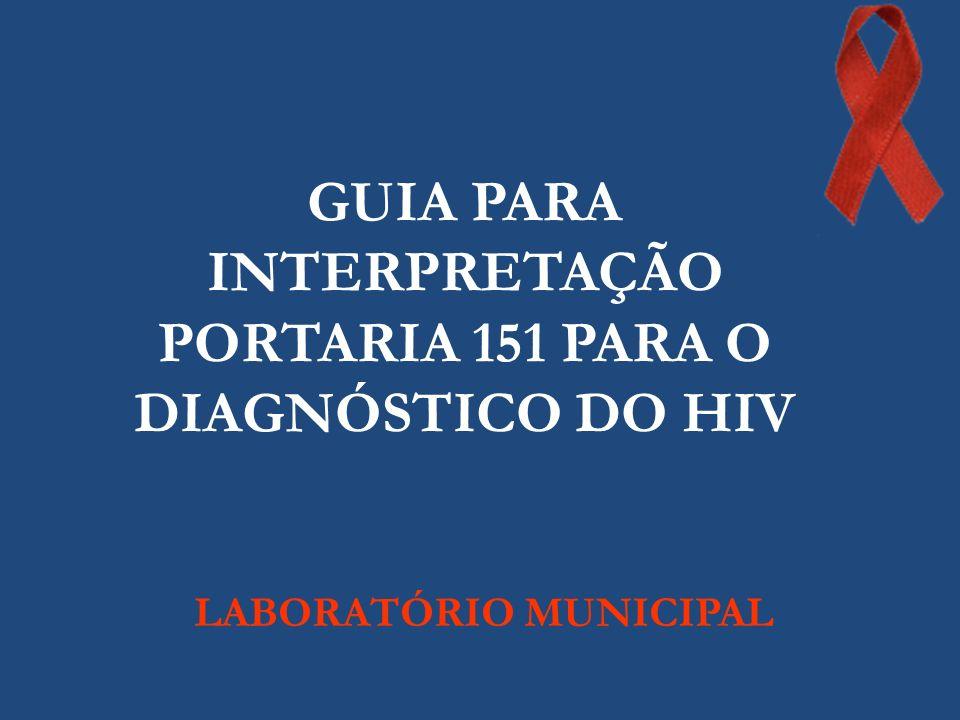 Fluxograma Mínimo para o Diagnóstico Laboratorial da Infecção pelo HIV em Indivíduos Acima de 18 Meses e Fluxograma para o Diagnóstico da Infecção pelo HIV em Situações Especiais Portaria MS/SVS nº 151, de 14 de outubro de 2009
