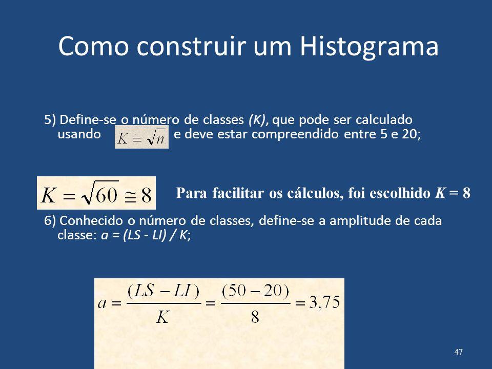 Como construir um Histograma 7)Calcule os limites de cada intervalo 8)Construa uma tabela de distribuição de freqüência Limite inferior da classe Limite superior da classe Nº de observações em cada classse 48