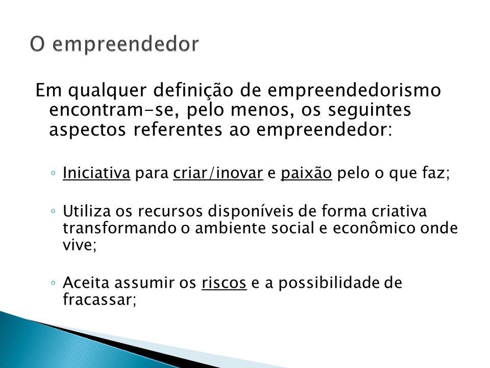 Em qualquer definição de empreendedorismo encontram-se, pelo menos, os seguintes aspectos referentes ao empreendedor: Iniciativa para criar/inovar e p