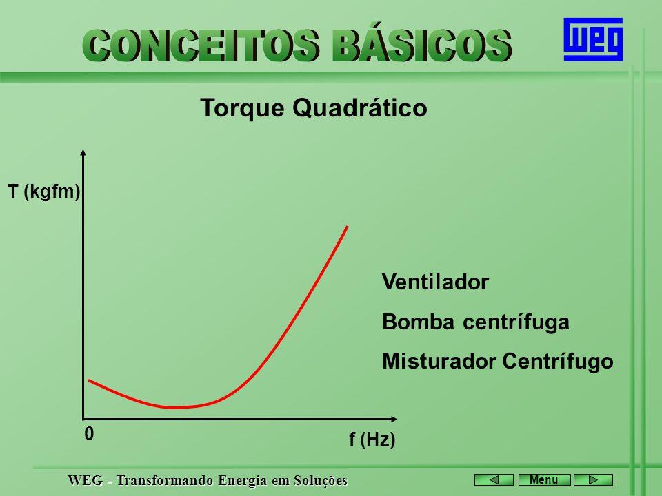 WEG - Transformando Energia em Soluções Menu Torque Quadrático T (kgfm) f (Hz) Ventilador Bomba centrífuga Misturador Centrífugo 0