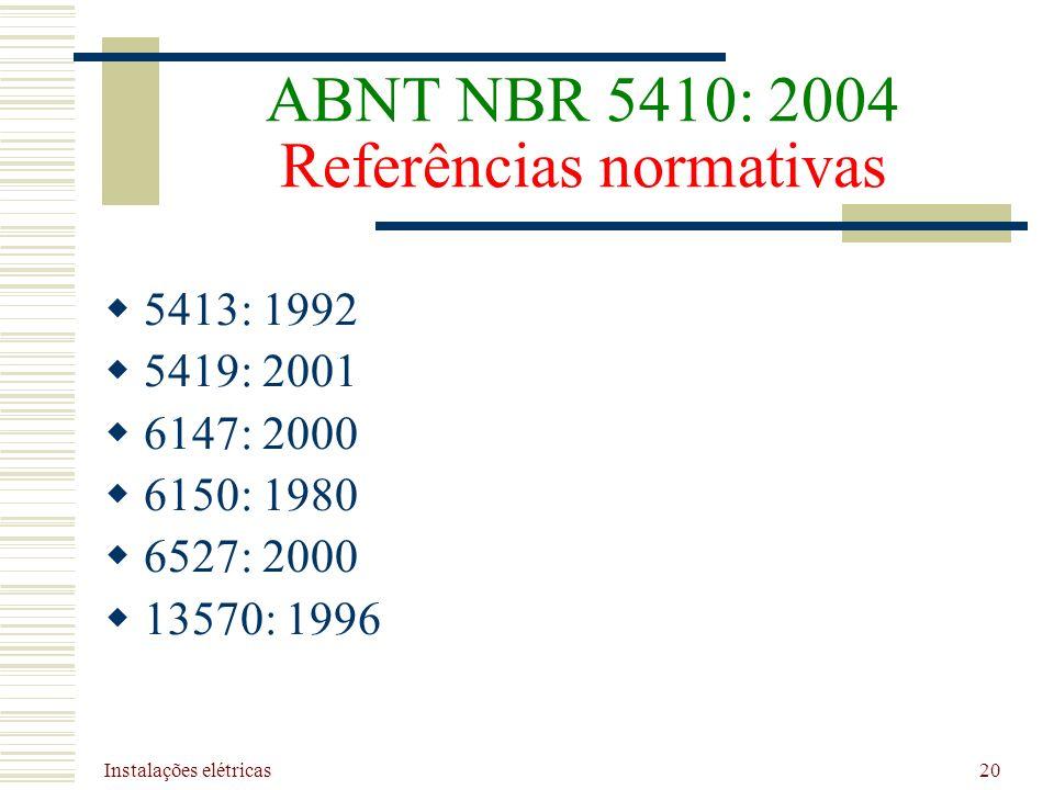 Instalações elétricas 20 ABNT NBR 5410: 2004 Referências normativas 5413: 1992 5419: 2001 6147: 2000 6150: 1980 6527: 2000 13570: 1996