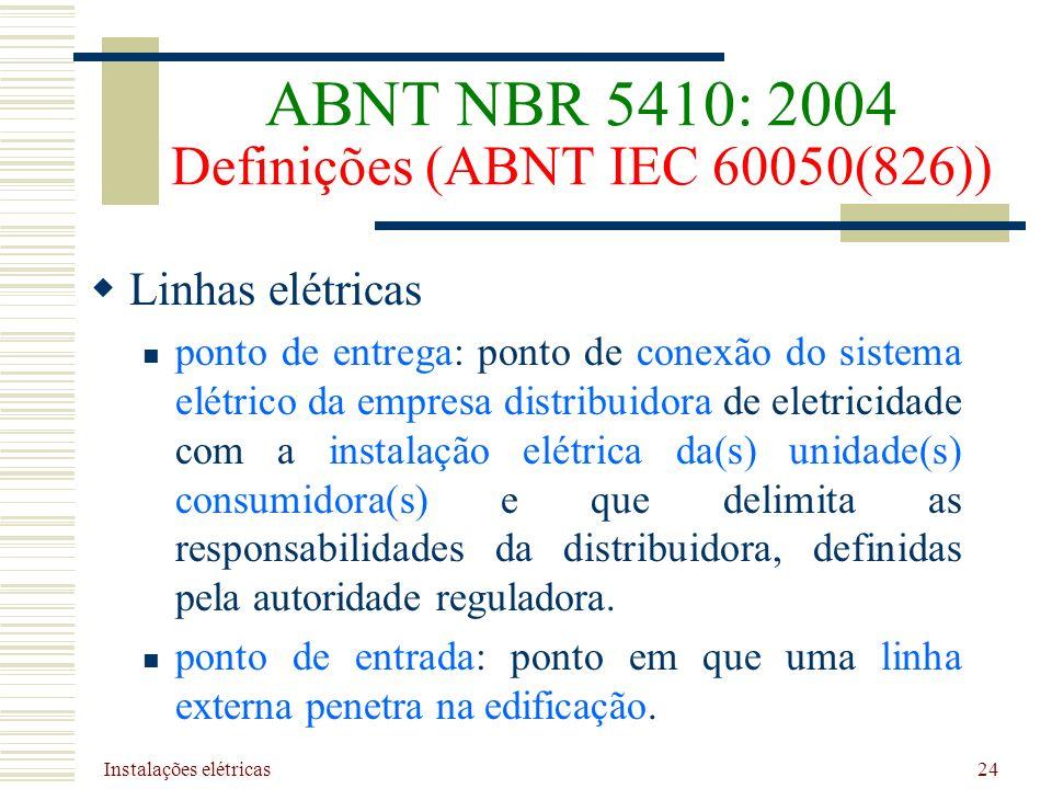 Instalações elétricas 24 Linhas elétricas ponto de entrega: ponto de conexão do sistema elétrico da empresa distribuidora de eletricidade com a instal