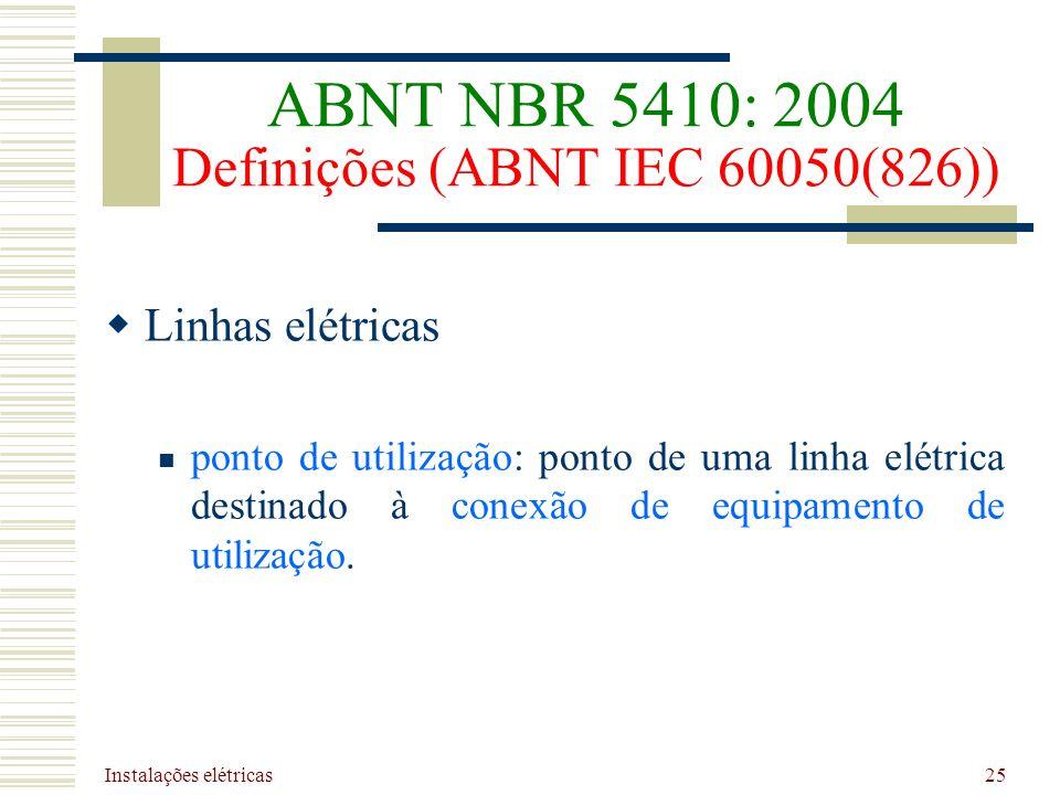 Instalações elétricas 25 Linhas elétricas ponto de utilização: ponto de uma linha elétrica destinado à conexão de equipamento de utilização. ABNT NBR