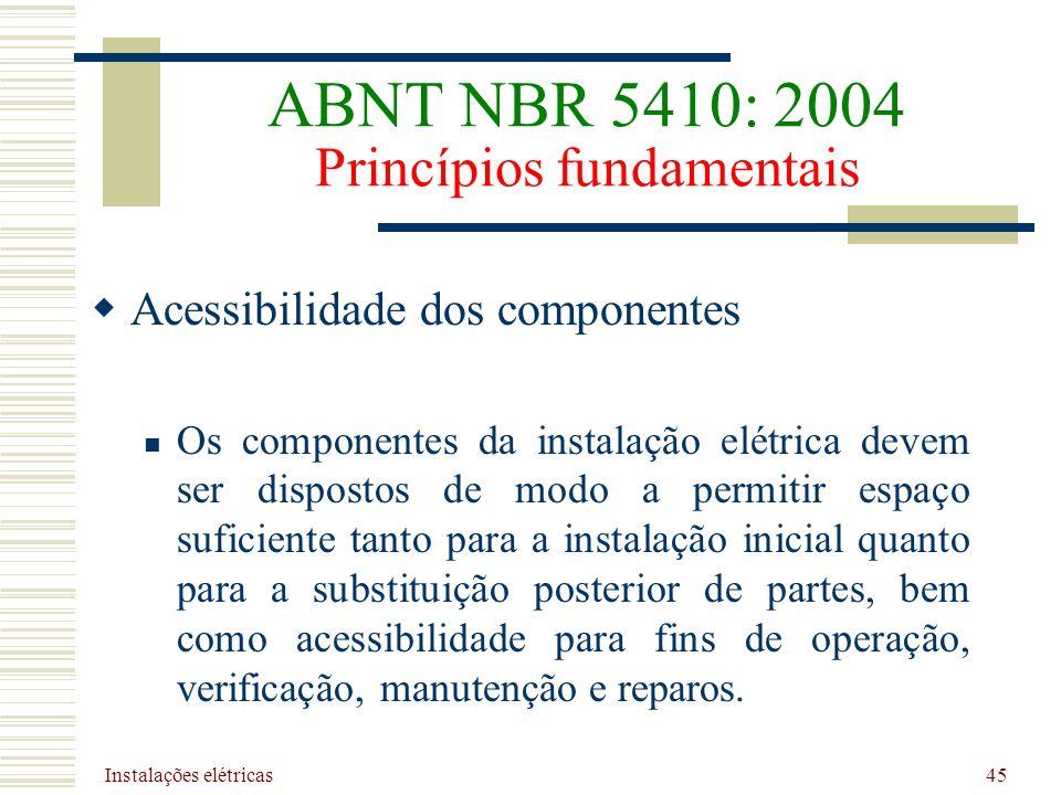 Instalações elétricas 45 Acessibilidade dos componentes Os componentes da instalação elétrica devem ser dispostos de modo a permitir espaço suficiente
