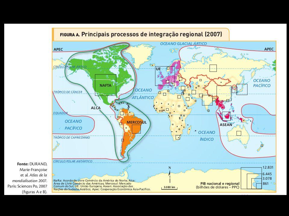 Integração regional. As relações econômicas internacionais se realizam por meio de complexos sistemas de troca de serviços, de tecnologia e de capitai