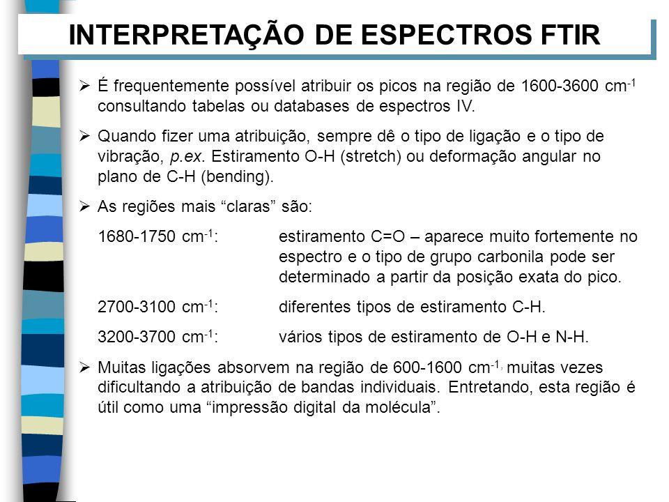 INTERPRETAÇÃO DE ESPECTROS FTIR É frequentemente possível atribuir os picos na região de 1600-3600 cm -1 consultando tabelas ou databases de espectros
