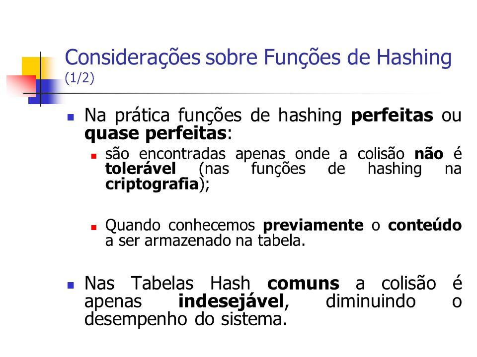 Considerações sobre Funções de Hashing (1/2) Na prática funções de hashing perfeitas ou quase perfeitas: são encontradas apenas onde a colisão não é t