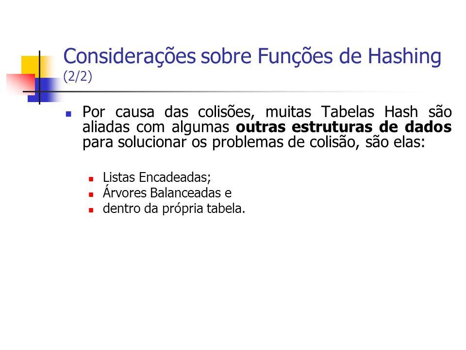 Considerações sobre Funções de Hashing (2/2) Por causa das colisões, muitas Tabelas Hash são aliadas com algumas outras estruturas de dados para soluc