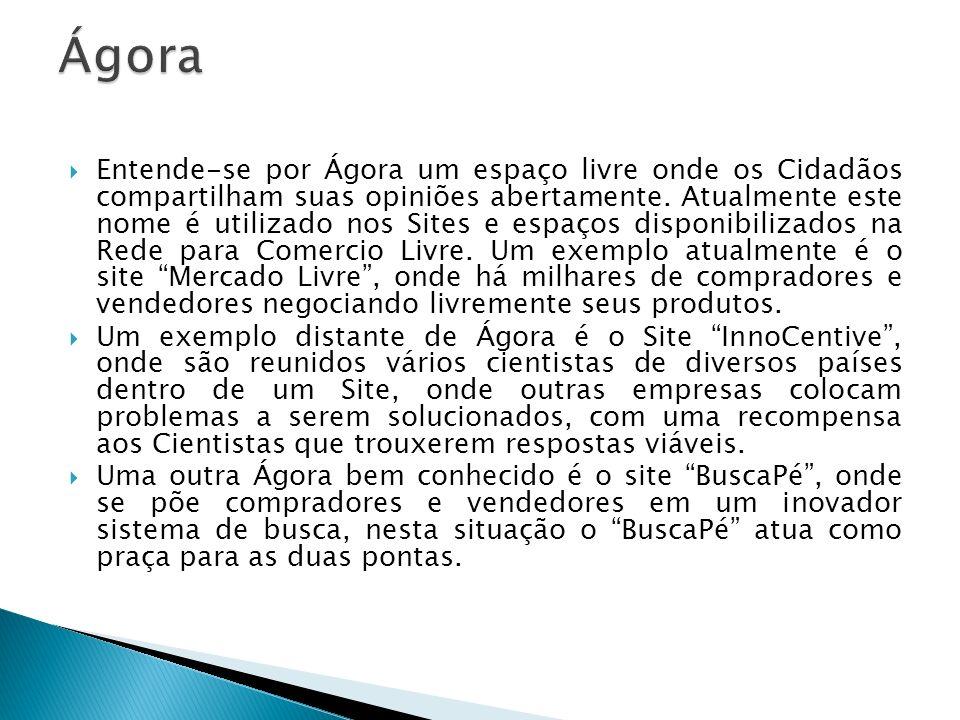 Entende-se por Ágora um espaço livre onde os Cidadãos compartilham suas opiniões abertamente. Atualmente este nome é utilizado nos Sites e espaços dis