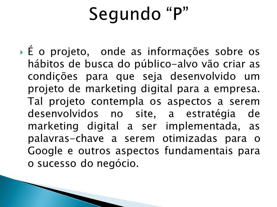 É o projeto, onde as informações sobre os hábitos de busca do público-alvo vão criar as condições para que seja desenvolvido um projeto de marketing d