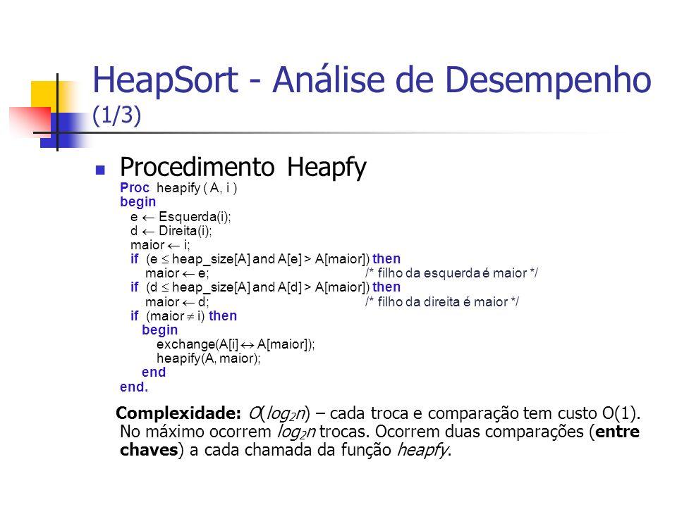 HeapSort - Análise de Desempenho (1/3) Procedimento Heapfy Proc heapify ( A, i ) begin e Esquerda(i); d Direita(i); maior i; if (e heap_size[A] and A[