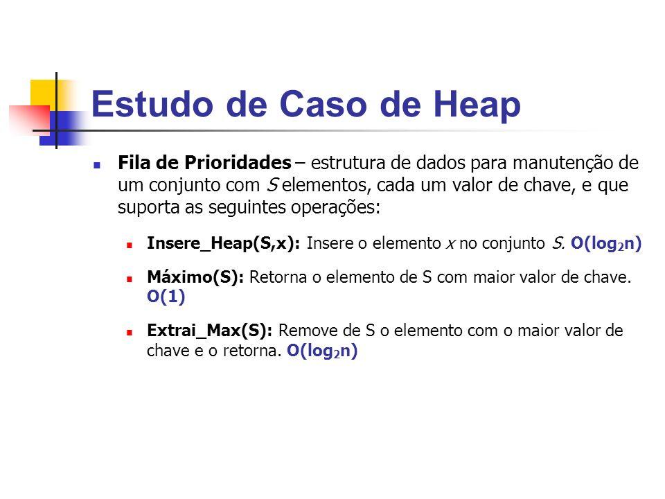 Estudo de Caso de Heap Fila de Prioridades – estrutura de dados para manutenção de um conjunto com S elementos, cada um valor de chave, e que suporta