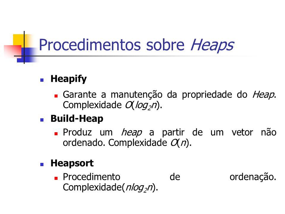 Procedimentos sobre Heaps Heapify Garante a manutenção da propriedade do Heap. Complexidade O(log 2 n). Build-Heap Produz um heap a partir de um vetor