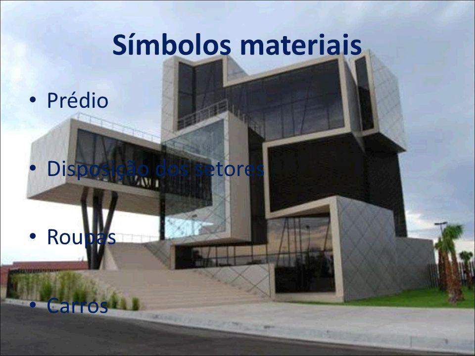 Símbolos materiais Prédio Disposição dos setores Roupas Carros