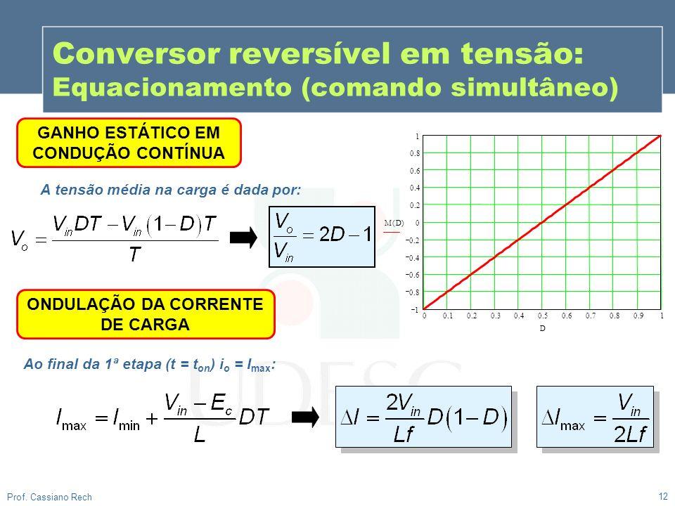 12 Prof. Cassiano Rech Conversor reversível em tensão: Equacionamento (comando simultâneo) GANHO ESTÁTICO EM CONDUÇÃO CONTÍNUA A tensão média na carga