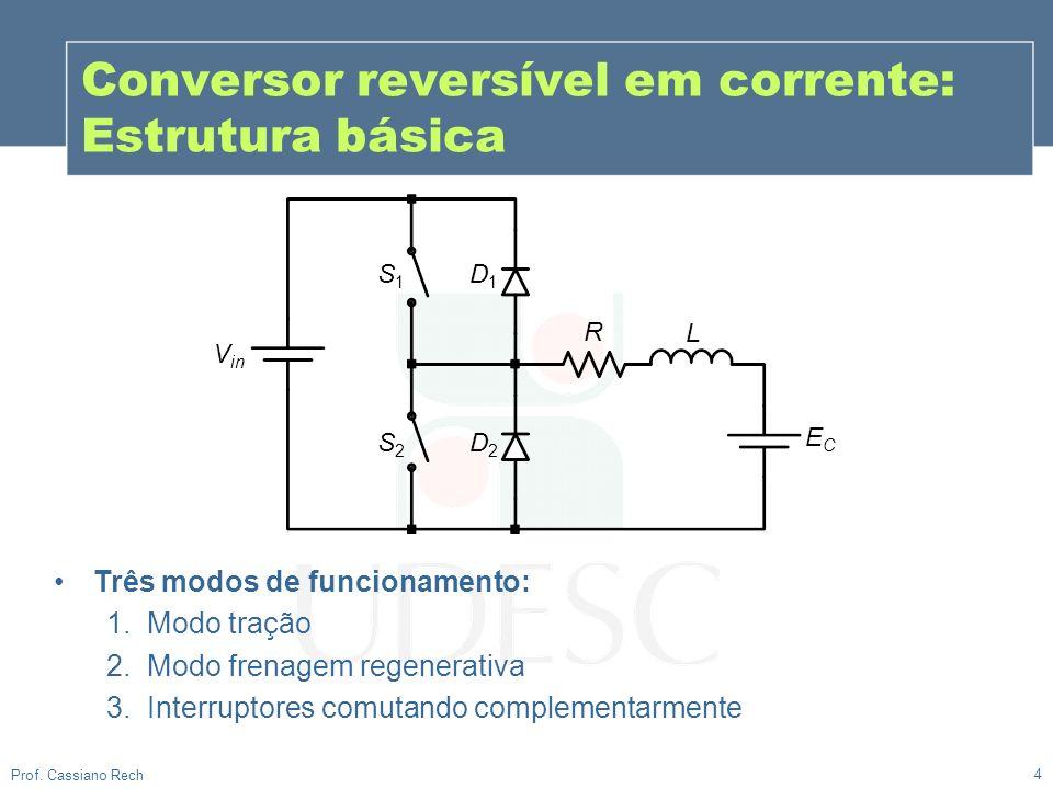 Conversor reversível em corrente: Estrutura básica 4 Prof. Cassiano Rech Três modos de funcionamento: 1.Modo tração 2.Modo frenagem regenerativa 3.Int