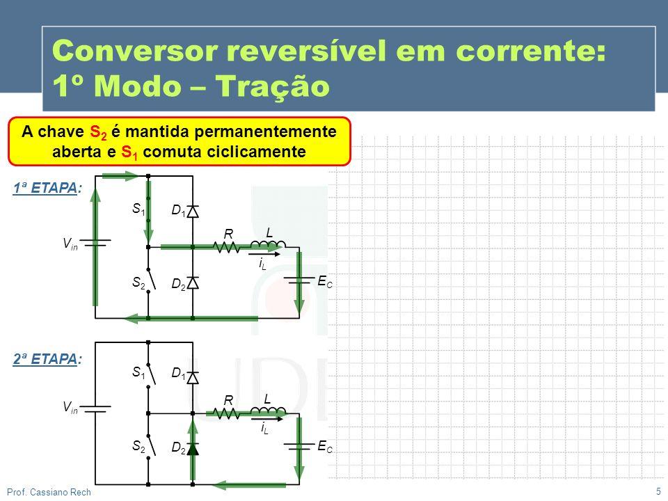 5 Prof. Cassiano Rech A chave S 2 é mantida permanentemente aberta e S 1 comuta ciclicamente iLiL Conversor reversível em corrente: 1º Modo – Tração V