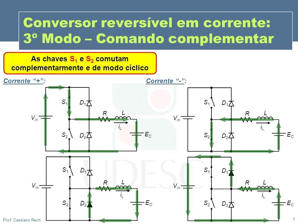 7 Prof. Cassiano Rech As chaves S 1 e S 2 comutam complementarmente e de modo cíclico Conversor reversível em corrente: 3º Modo – Comando complementar