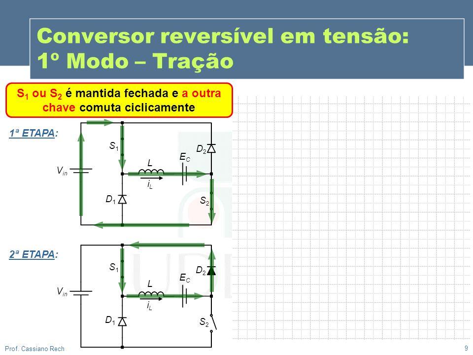9 Prof. Cassiano Rech S 1 ou S 2 é mantida fechada e a outra chave comuta ciclicamente Conversor reversível em tensão: 1º Modo – Tração V in S1S1 ECEC