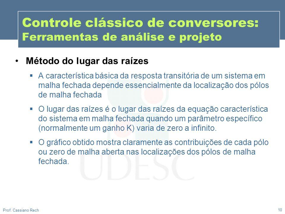 10 Prof. Cassiano Rech Controle clássico de conversores: Ferramentas de análise e projeto Método do lugar das raízes A característica básica da respos