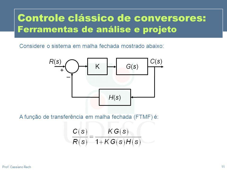 11 Prof. Cassiano Rech Considere o sistema em malha fechada mostrado abaixo: Controle clássico de conversores: Ferramentas de análise e projeto K G(s)