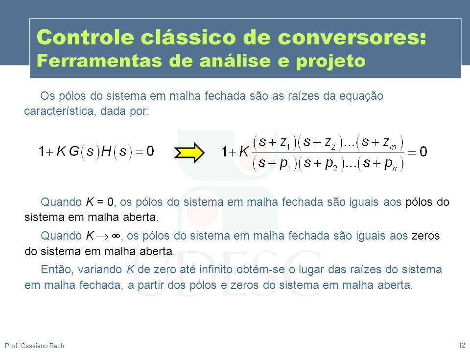 12 Prof. Cassiano Rech Controle clássico de conversores: Ferramentas de análise e projeto Os pólos do sistema em malha fechada são as raízes da equaçã