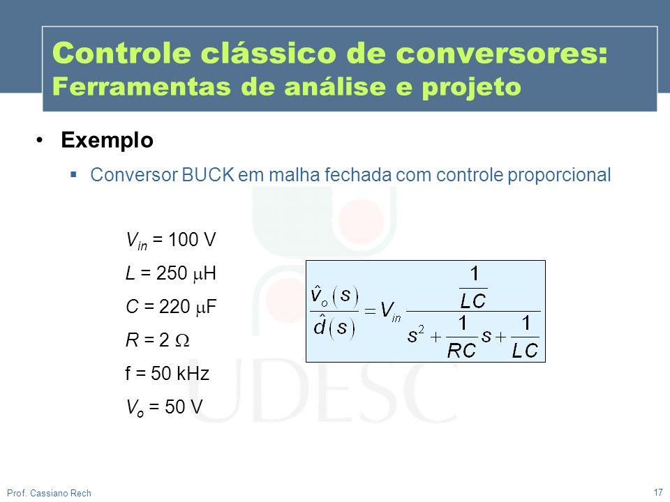 17 Prof. Cassiano Rech Exemplo Conversor BUCK em malha fechada com controle proporcional V in = 100 V L = 250 H C = 220 F R = 2 f = 50 kHz V o = 50 V