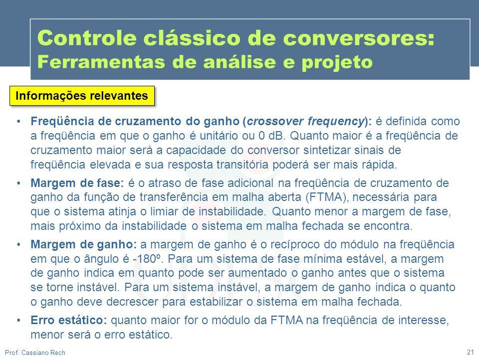 21 Prof. Cassiano Rech Controle clássico de conversores: Ferramentas de análise e projeto Informações relevantes Freqüência de cruzamento do ganho (cr