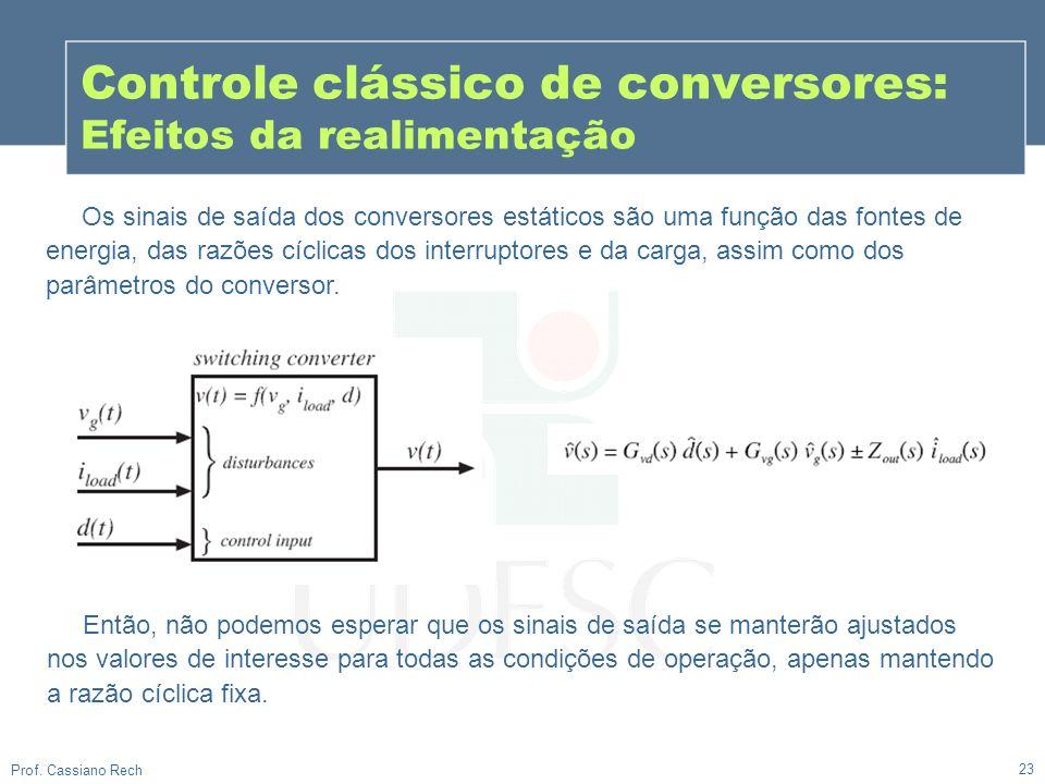 23 Prof. Cassiano Rech Controle clássico de conversores: Efeitos da realimentação Os sinais de saída dos conversores estáticos são uma função das font