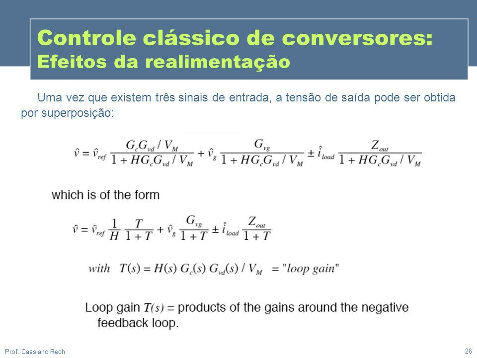 26 Prof. Cassiano Rech Controle clássico de conversores: Efeitos da realimentação Uma vez que existem três sinais de entrada, a tensão de saída pode s