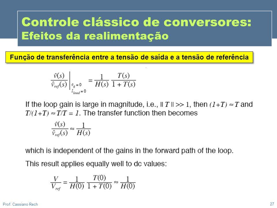 27 Prof. Cassiano Rech Controle clássico de conversores: Efeitos da realimentação Função de transferência entre a tensão de saída e a tensão de referê