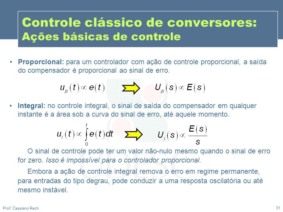 31 Prof. Cassiano Rech Controle clássico de conversores: Ações básicas de controle Proporcional: para um controlador com ação de controle proporcional