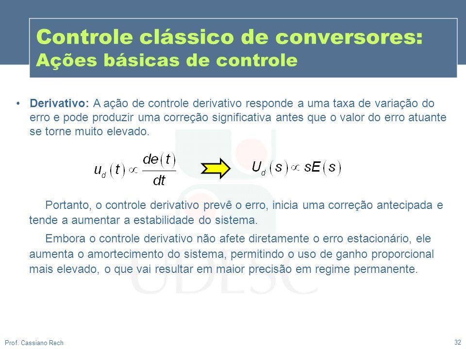 32 Prof. Cassiano Rech Controle clássico de conversores: Ações básicas de controle Derivativo: A ação de controle derivativo responde a uma taxa de va