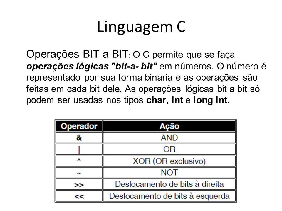 Linguagem C Operações BIT a BIT : O C permite que se faça operações lógicas