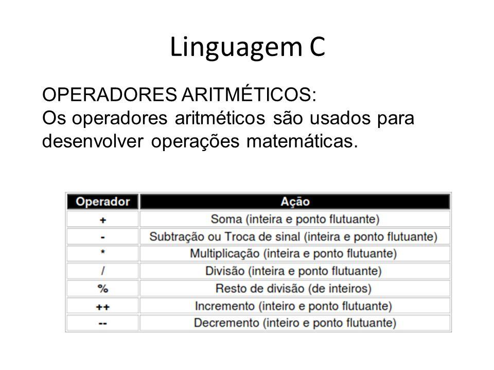 Linguagem C OPERADORES ARITMÉTICOS: Os operadores aritméticos são usados para desenvolver operações matemáticas.