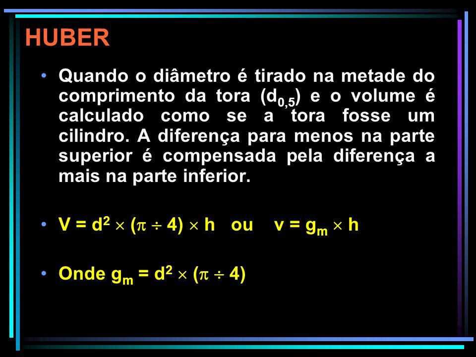 HUBER O volume calculado desta forma é relativamente exato se a forma aproxima-se de um cilindro, porém os erros podem ser consideráveis e os volumes podem ser subestimados para as outras formas de tronco.