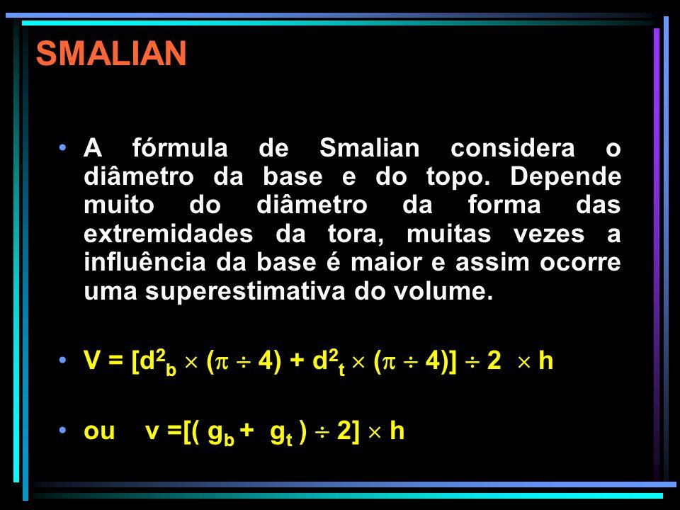 NEWTON Esta fórmula equilibra os erros das anteriores porque atribui peso maior ao diâmetro do meio da tora (peso 4): V = [d 2 b ( 4) + 4 d 2 m ( 4) + d 2 t ( 4)] 6 h Ou v =[( g b + 4 g m + g t ) 6] h