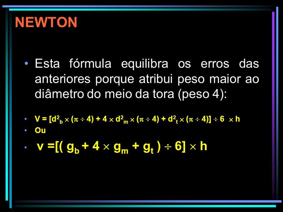 Para uma estimativa rápida do volume de uma tora pode-se utilizar a seguinte fórmula v = d 2 m h 0,8 onde 0,8 é a aproximação de ( 4) = 0,7853