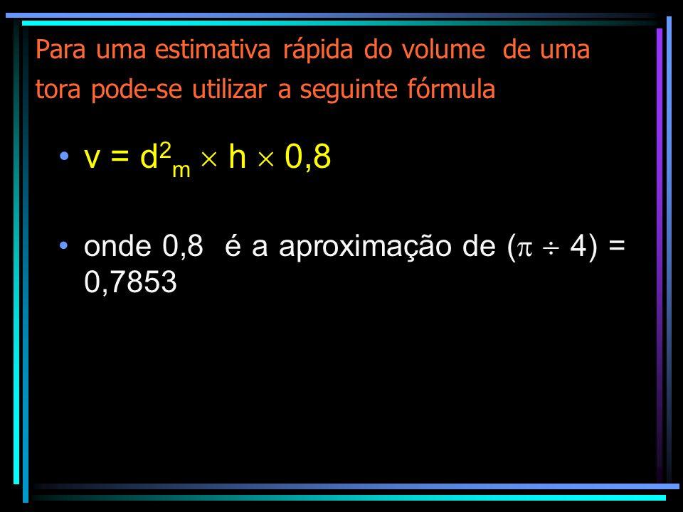 Determinação do volume de uma árvore em pé O volume é calculado segundo a fórmula: V = DAP 2 ( 4) h F F Onde: h = altura da árvore F F = Fator de forma
