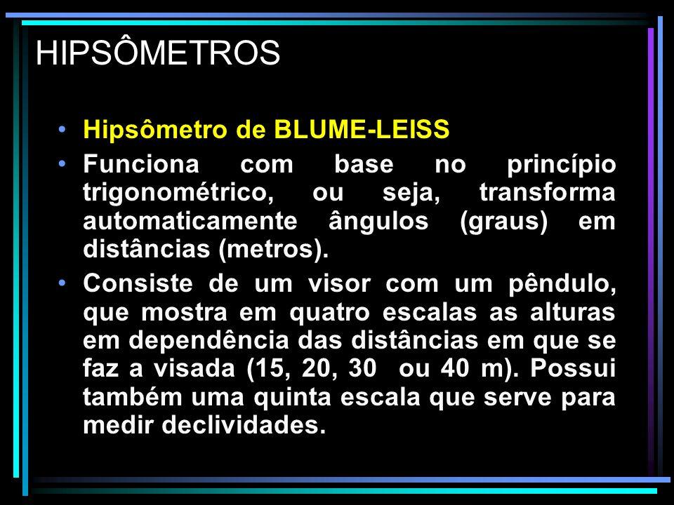 HIPSÔMETRO de BLUME-LEISS O instrumento possui um visor ótico que permite a determinação da distância do operador e a árvore com o auxílio de uma mira.