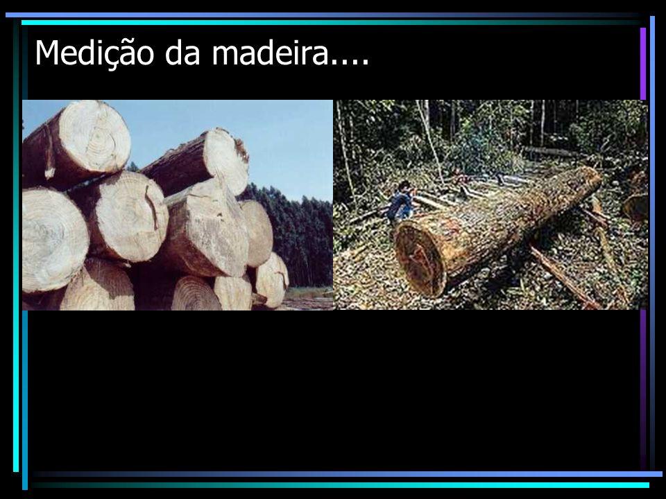INTRODUÇÃO A medição da madeira compreende a determinação do volume de troncos, pilhas de lenha, de árvores em pé e de povoamentos florestais inteiros.