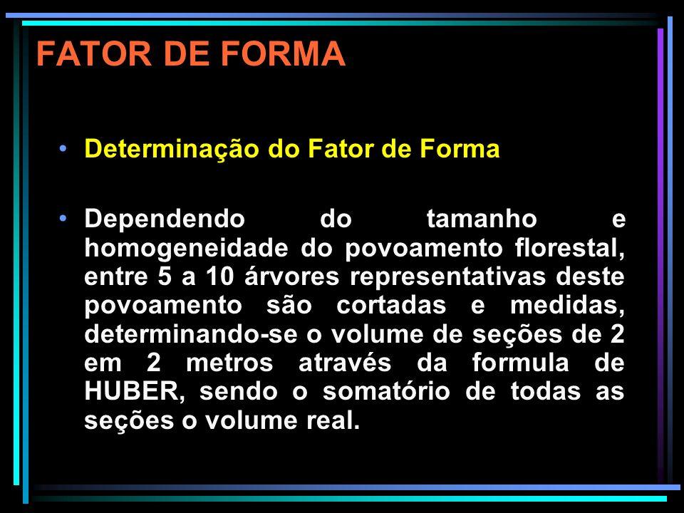 FATOR DE FORMA Fatores de forma específicos do DAP sugerem as formas gerais: stem shapes: 0,25 neiloide 0,33 conoide 0,50 paraboloide quadratico 0,60 paraboloide cubico 1,00 cilindro