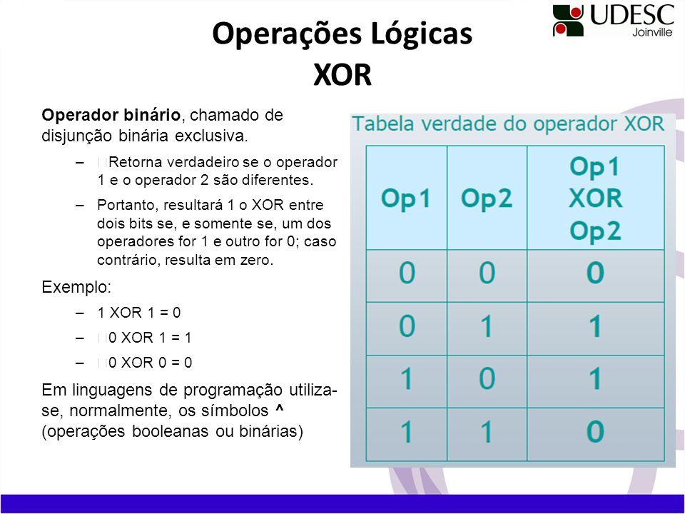 Operador binário, chamado de disjunção binária exclusiva. –Retorna verdadeiro se o operador 1 e o operador 2 são diferentes. –Portanto, resultará 1 o