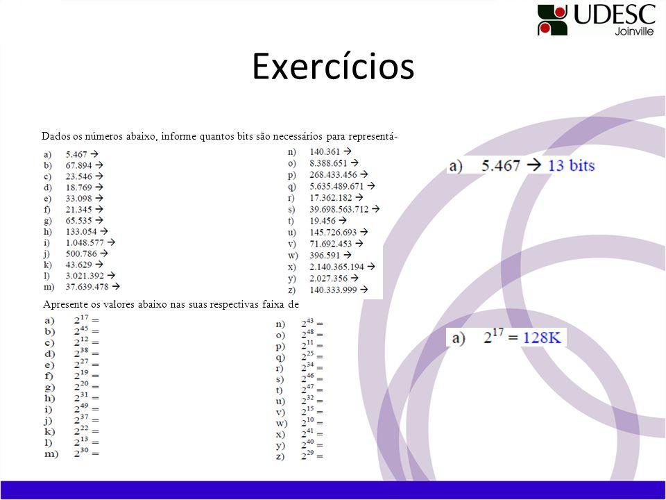 Exercícios Dados os números abaixo, informe quantos bits são necessários para representá- los. Apresente os valores abaixo nas suas respectivas faixa